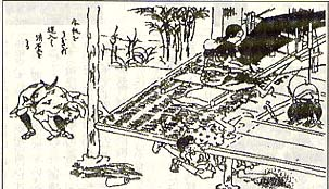 「硝石製錬法」(文久3年)挿図 縁の下の土を掘っている様子