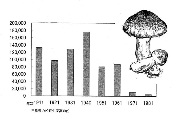 三重県の松茸生産高
