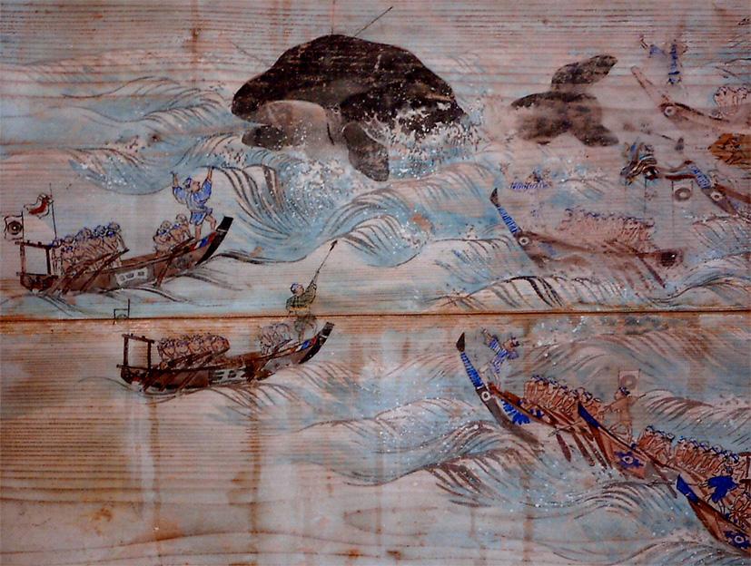 阿田和村捕鯨図と八幡神社奉納絵馬(いずれも部分)