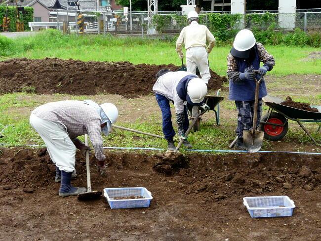 表面の土を除去したところです。