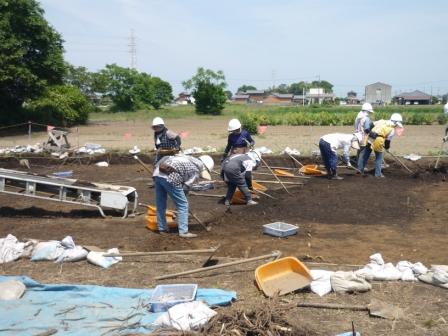 発掘調査の様子(地面の黒くなっているところが昔の生活の跡(遺構)です。)
