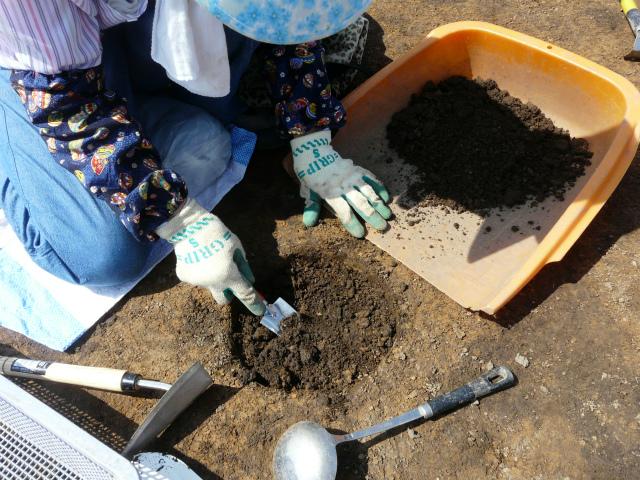 小さな穴も丁寧に掘ります。