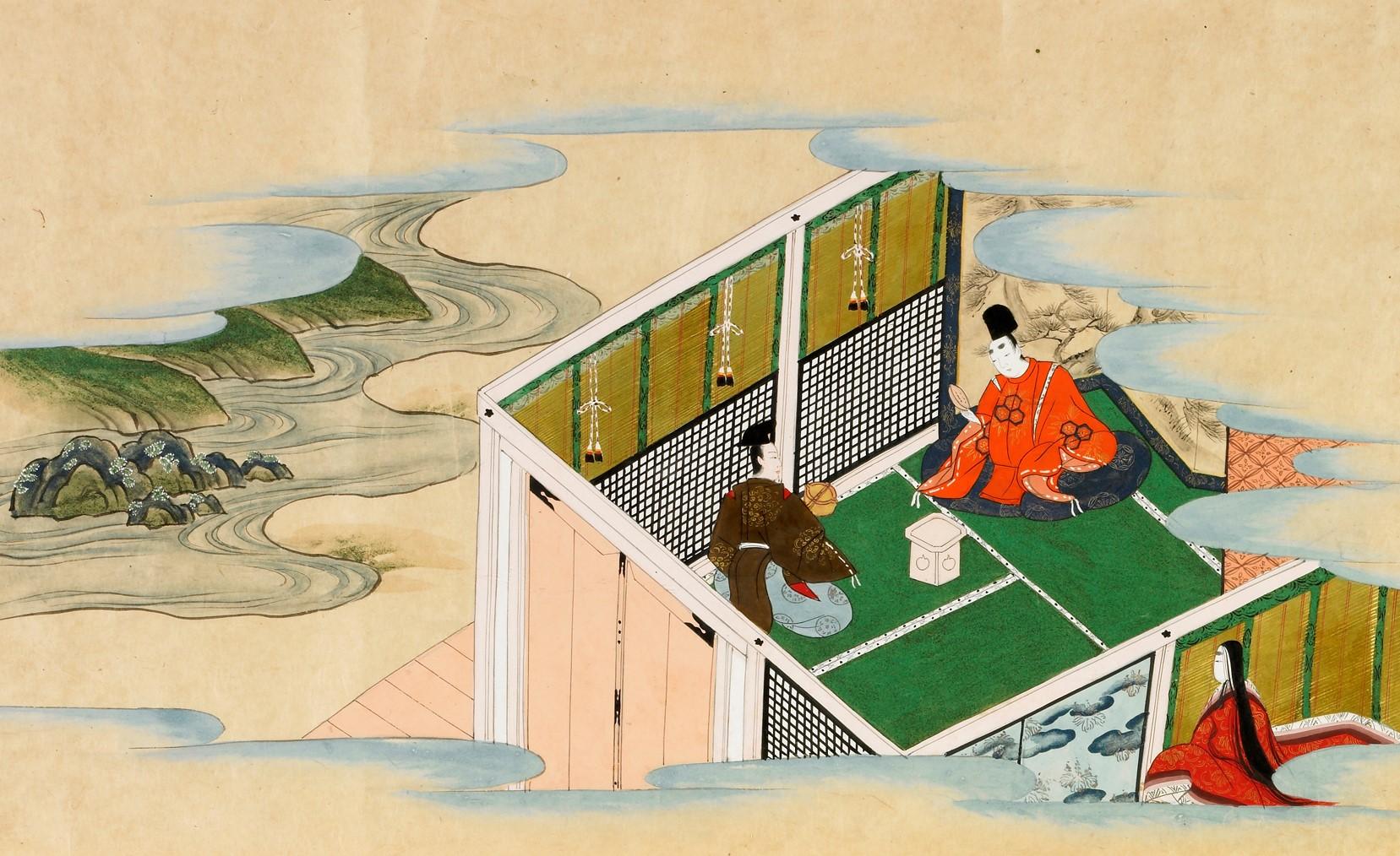 斎王からの別れの盃を見つめる業平(なぜか朱色の狩衣)と待機する斎宮の女官